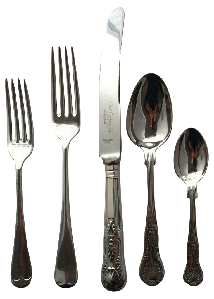 Silverplate Mixed Flatware, 5 Pcs