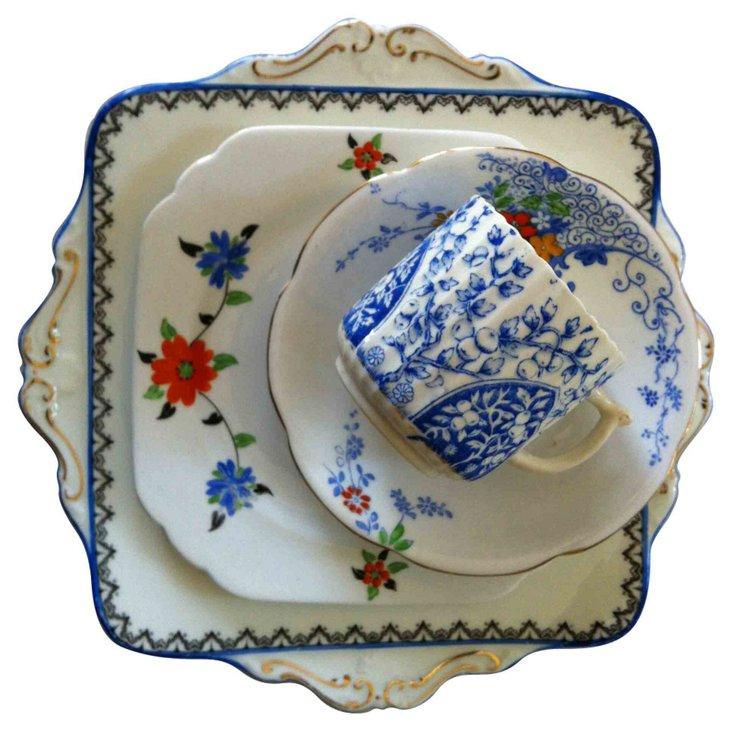 Blue &  Orange Mixed China, 4 Pcs