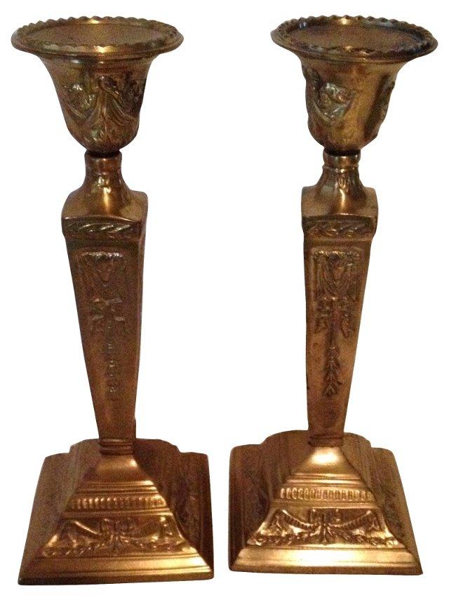 Brass Ram Candlesticks, Pair