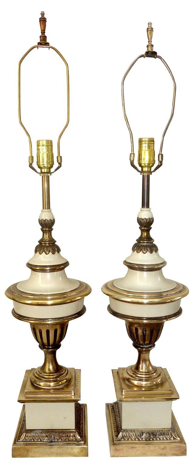 Stiffel Brass & Enamel Lamps, Pair