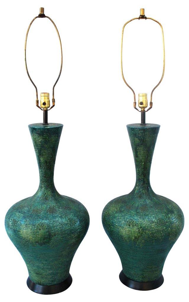 Blue-Green Plaster Lamps, Pair