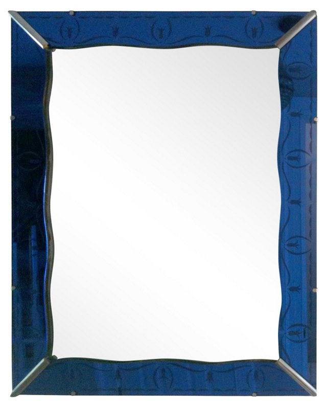 French Cobalt Etched Mirror, C. 1940