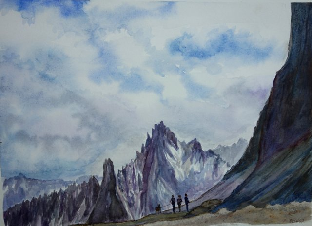 Mountain Hikers By P. Bishop