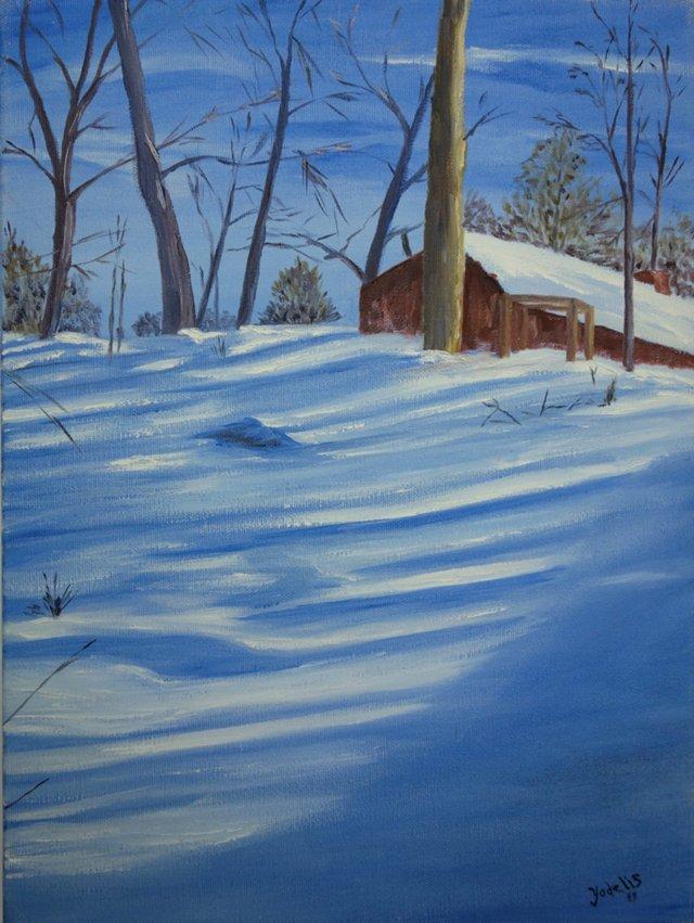 Snowy Knoll Behind the House