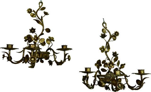Italian Gilt Metal Candle Sconces, Pair