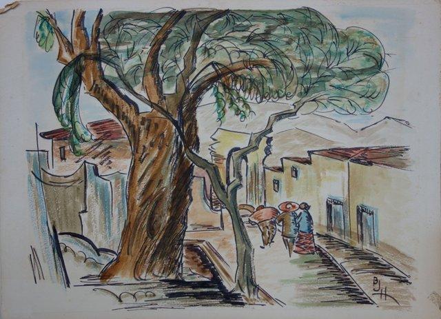 Mexican Street Scene w/ Figures