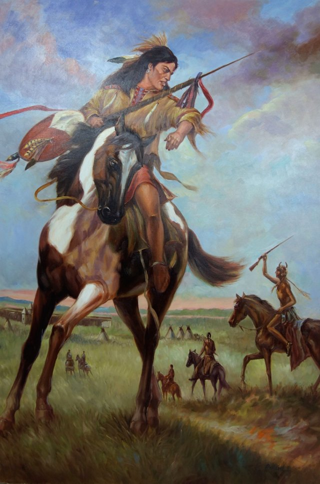 Plains Indian Warrior on Pinto Horse