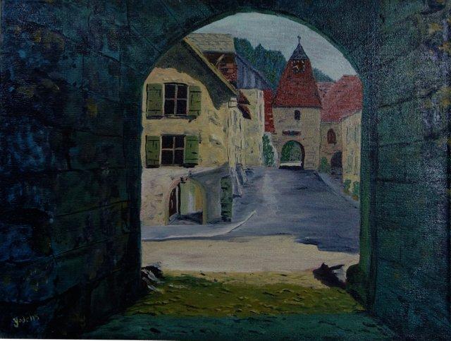 Village Street Through Arch