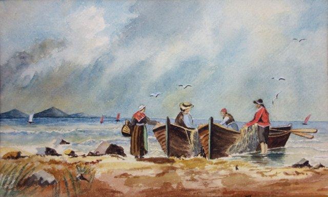 Fishermen At Shore w/ Nets