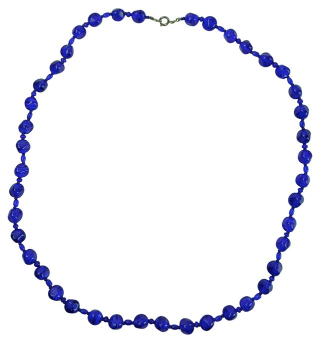 1960s Cobalt Glass Bead Necklace