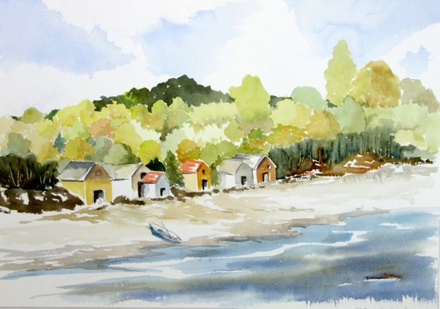 Waterside Cabins by Betty Levasheff
