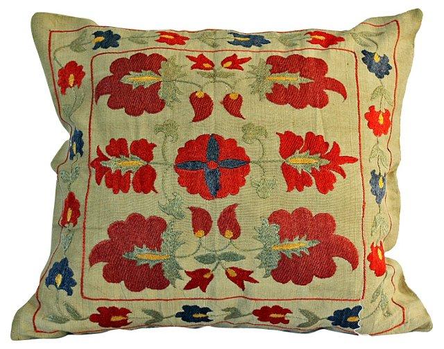 Uzbek Suzani Floral Pillow