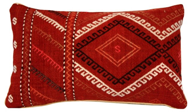Red Kilim Pillow w/ Hook Design