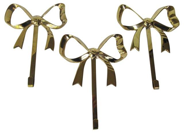 Brass Bow Wall Hooks, S/3