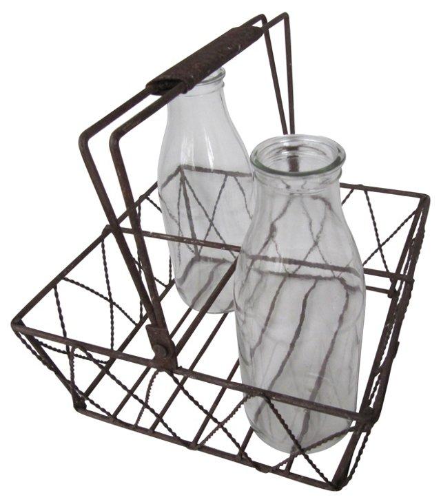 Basket w/ French Milk Bottles