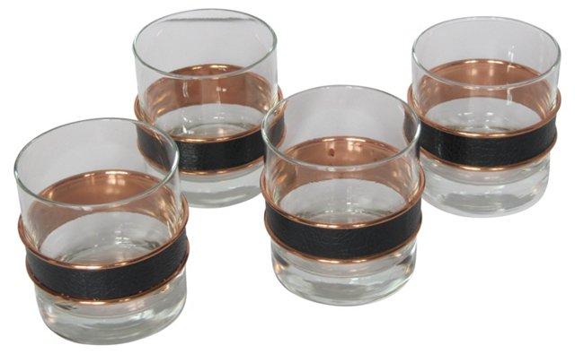 Glasses w/ Copper Accent, S/4
