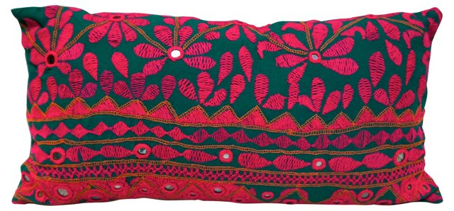 Mathu Green &  Pink Floral Pillow