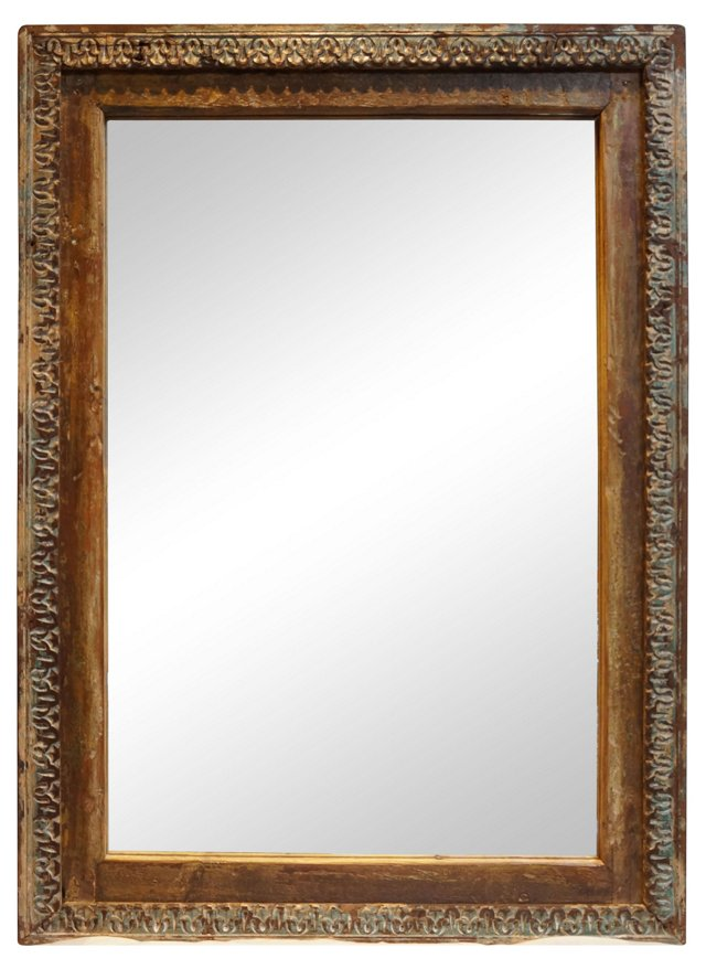19th-C Country Carved Mirror