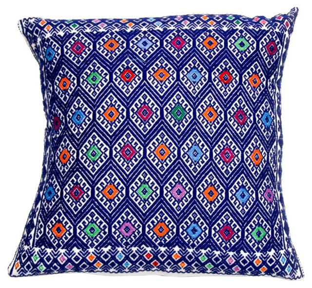 Blue Diamond Embroidered Pillow