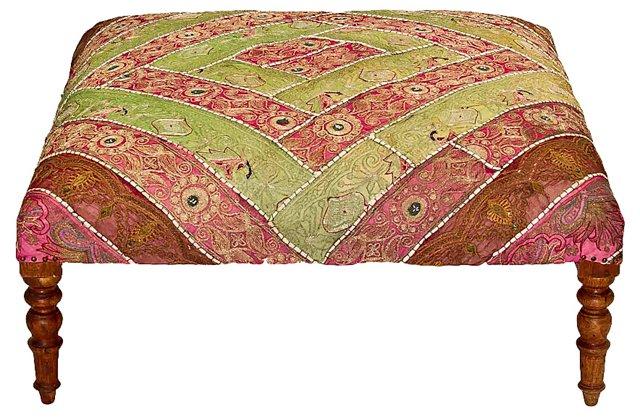 Indian Saree-Upholstered Ottoman