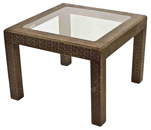 Aged Silver Embossed Coffee Table