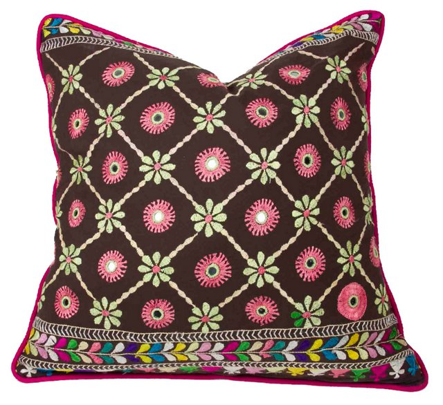 Embroidered Floral Phulkari Pillow