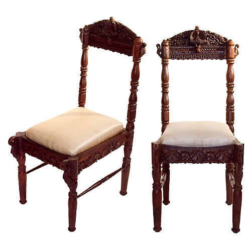 Anglo Indian Peacock Chairs, Pair