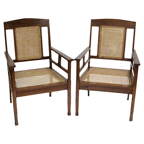 British Colonial Armchairs, Pair