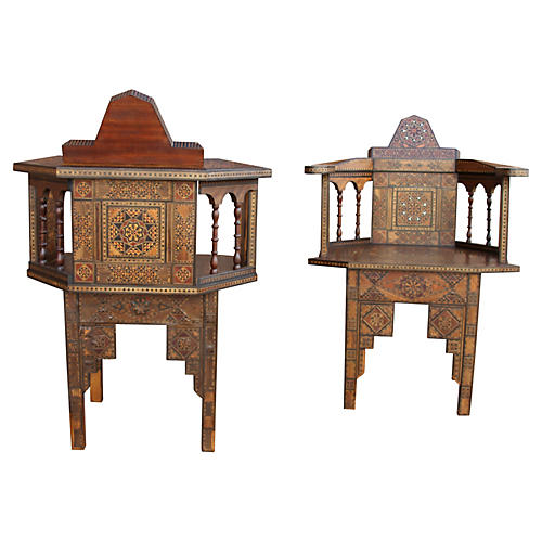 Syrian Inlaid Marquetry Chairs, Pair
