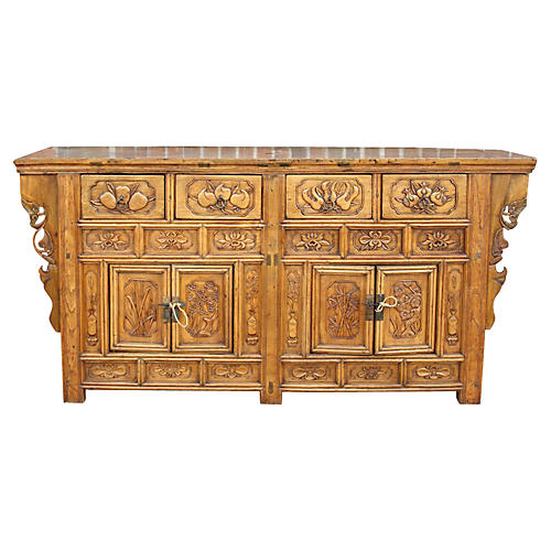 Carved Chinese Lotus Sideboard