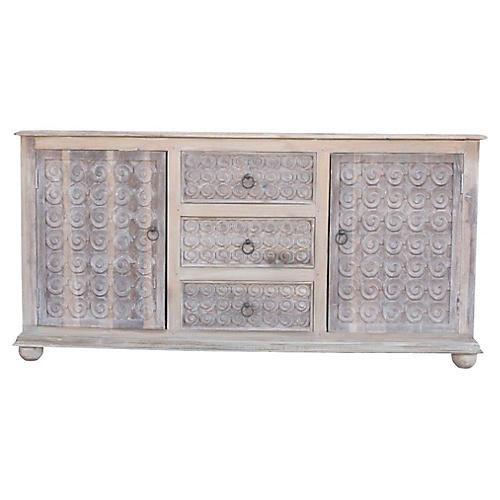 Whitewashed Scroll Burma Sideboard