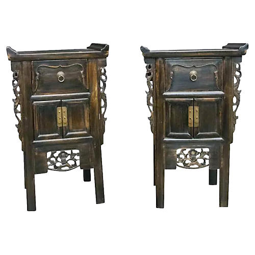 Qing Carved Cabinets, Pair