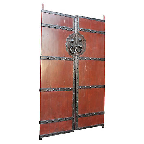 Chinese Red Gate Doors, Pair