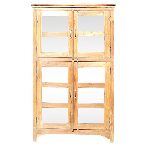 Teak Glass Colonial Bookcase