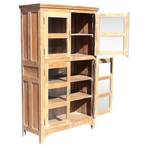 Teak Glass Colonial Bookcase
