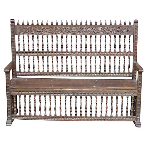 Spanish Colonial Carved Capilla Bench