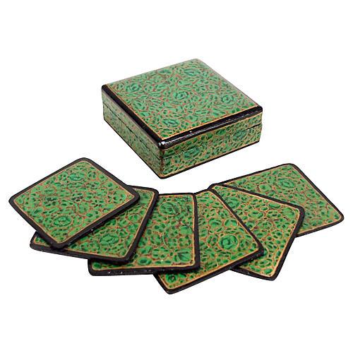 Jade Kashmiri Coaster Set, 7 Pcs
