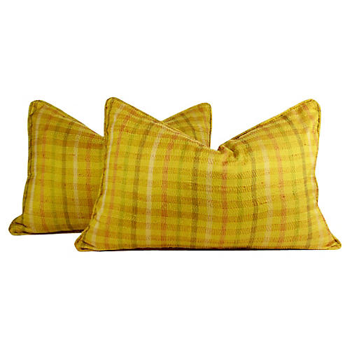 Plaid Silk Kantha Pillows, Pair