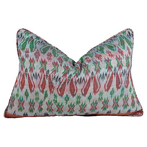 Festive Silk Kantha Pillow