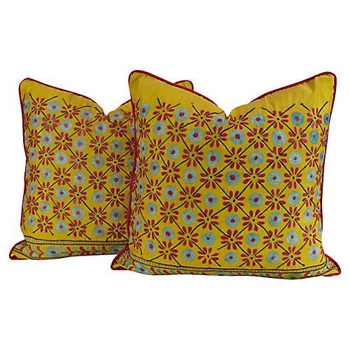 Dhalia Floral Pillows, Pair