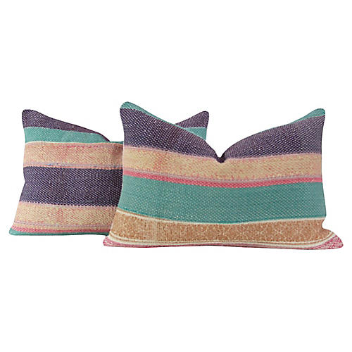 Striped Bengal Kantha Pillows, Pair