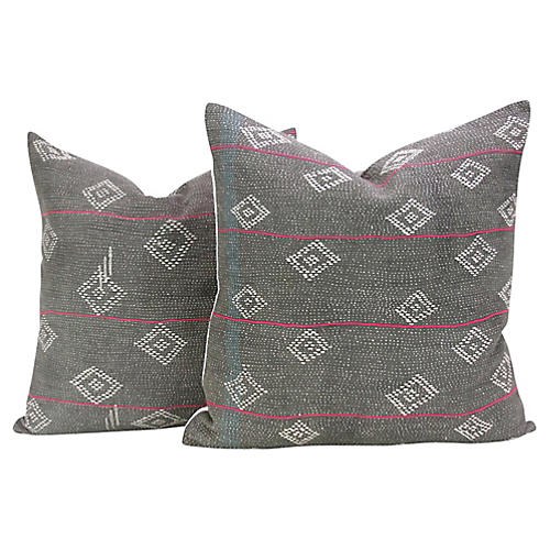 Charcoal Bengal Kantha Pillows, Pair