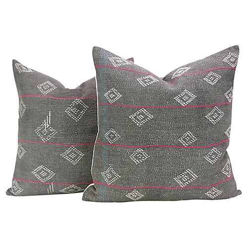 Charcoal Bengal Kantha Pillows, Pair
