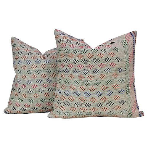 Diamond Bengal Kantha Pillows, Pair