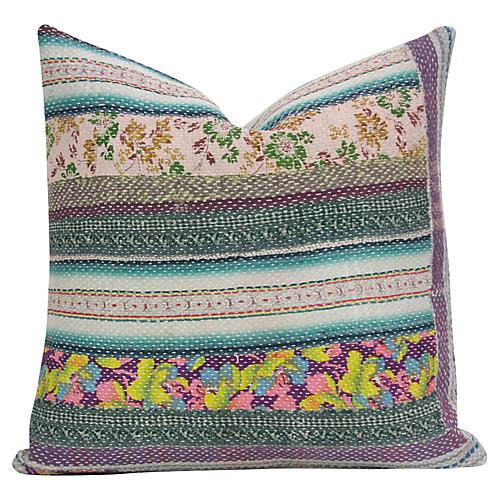 Floral Bengal Kantha Pillow
