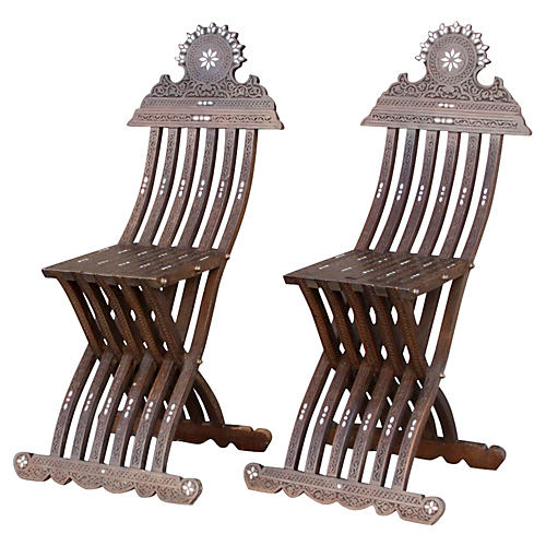 Mother-of-Pearl-Inlay Chairs, S/2