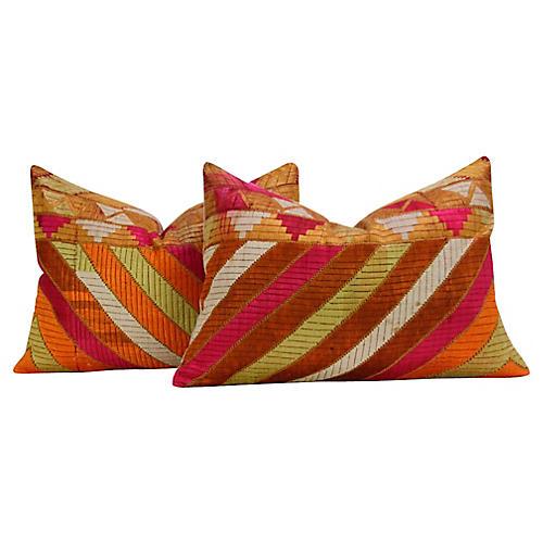 Royal Silky Phulkari Pillows, Pair