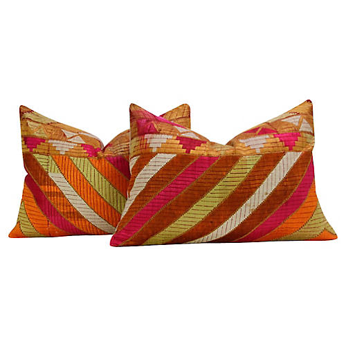 Royal Silky Phulkari Pillows, Pair