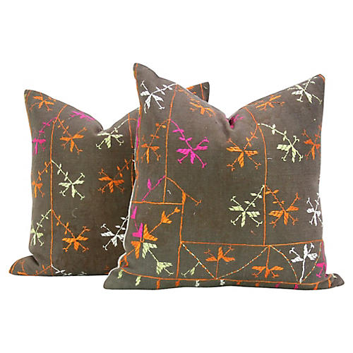 Phulkari Pillows, Pair