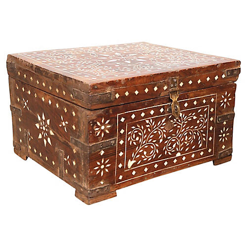 Bone Inlay Indian Campaign Trunk